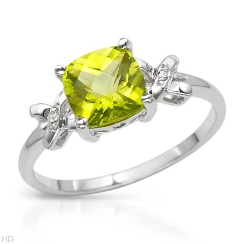White Gold 2.04 CTW Peridot and 0.01 CTW Accent Diamond Ladies Ring. Ring Size 7. Total Item weight 2.2 g.