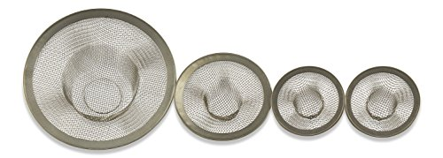 Sink Strainer 4 Piece Set - Mesh Drain Stopper Fits Kitchen Bathroom Laundry Sinks By bogo Brands (Heavy Duty Wire Mesh compare prices)