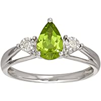 1 ct Peridot Ring with Diamonds in 10k Gold