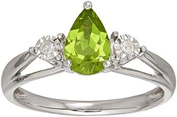 1 ct Peridot Ring with Diamonds