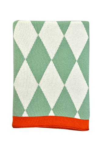 DARZZI Baby Diamonds Baby Blanket, Sage Green/Natural