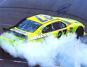 Buy Autographed Paul Menard Photo - NASCAR BRICKYARD 400 BURNOUT 11X14 COA - Autographed NHL Photos by Sports Memorabilia