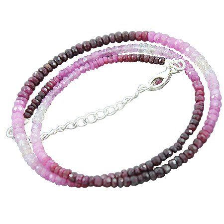 925 Sterling Silver Natural 3 mm Shaded Ruby Faceted Roundel Gemstone Beads Strand Necklace Handmade Jewelry 18