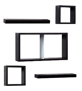 Melannco 5−pc. Espresso Shelf & Cube Set