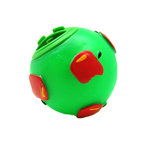 PetFun New Cute Interesting Round Ball Food Dispenser for Small Dogs, Green