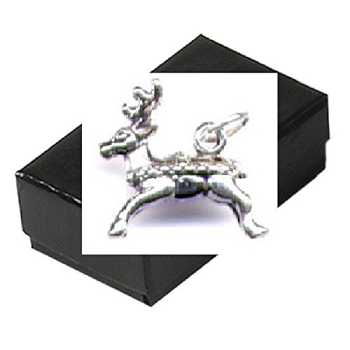 Gift Boxed Sterling Silver Reindeer Charm Christmas Jewelry Animal Pendant front-360791