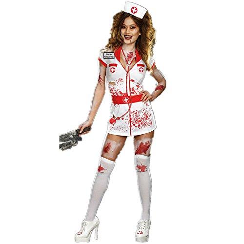 [ReachMe Sexy Nurse Outfit Seductive Lingerie Halloween Zombie Nurse Costumes(Style 6)] (Zombie Nurse Costumes)