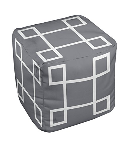 E by design Geometric Pouf, 13-Inch, Steel