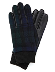 Blue Harbour Pure Wool Gloves with Knitted Cuffs and Leather Palms