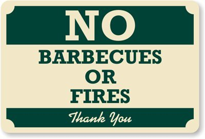 """No Barbecues Or Fires, Thank You Sign, 18"""" X 12"""" front-600130"""