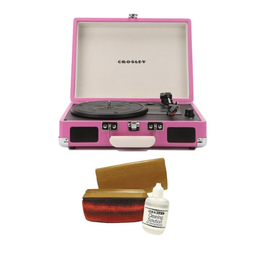 Crosley Cr8005Api Cruiser Portable Turntable (Pink) W/ Crosley Record Cleaning Kit