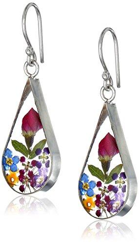 Sterling Silver Multi Pressed Flower Teardrop Earrings