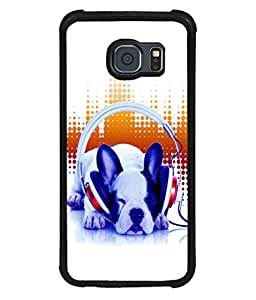 printtech Dog Music Vibe cute Back Case Cover for Samsung Galaxy S6 Edge::Samsung Galaxy Edge G925