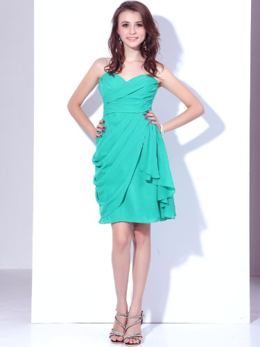 Landybridal 2013 New Style Size US8 Sheath Column Sweetheart Short Chiffon Green Bridesmaid Dress C12746