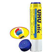 Saunders UHU Glue Stick, 0.74 oz., Blue, Pack of 12 (99602)