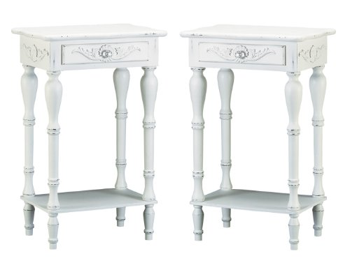 Discover Bargain Set of 2 Carved Wood Shabby White Nightstands