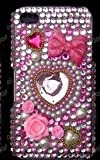 Apple iPhone 4G Sweet Pink Heart Style Full Water Diamond Crystal, Hard Case/Cover/Protector