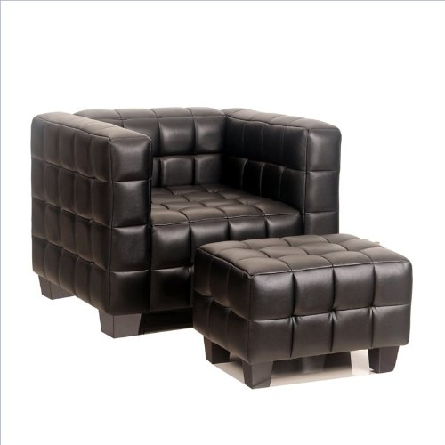 Abbyson Living Avenue Leather Leather Chair and Ottoman Set in Black