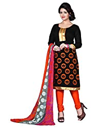 Latest Designer Collection Solid Embroided Festive Wear Cotton Black Un Stitch Branded Salwar Suit Dress Material for women girls ladies by Lookslady