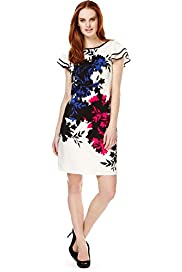 Slash Neck Floral A-Line Dress