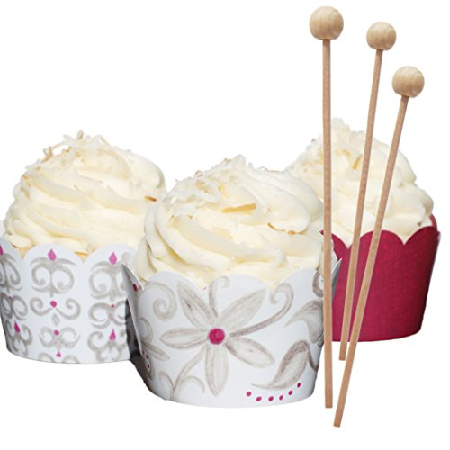 Wedding Cupcake Wrappers and Wooden Picks, White and Silver-Gray, Plum Purple, Decoration Kit, Confetti Couture Party Supplies, Set of 70 (Cupcake Liners Bulk compare prices)