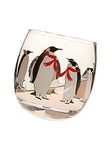 "Set 4 pcs 4"" Glass Jolly Penguin Rolling Stemless Wine Glasses Tumbler 10.5Oz"