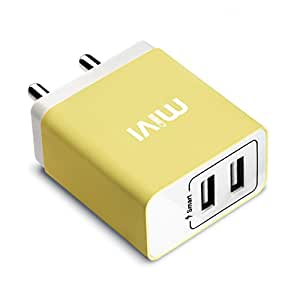 Mivi 3.1A Dual Port Smart Wall charge adapter with in-built Auto-detect Technology compatible with Samsung, Apple iPhones, iPad, OnePlus, Motorola, Sony, LG, HTC, Lenovo, OPPO, Vivo, Microsoft, Nokia, Asus, Letv, Xiaomi, Coolpad, Micromax, Honor, Intex, Karbonn, Meizu, iBall, Lava, Huawei, and all other mobile devices, tablets, power banks, bluetooth speakers, cameras and More (Yellow) …
