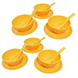 Ruchi Round Soup Set, 18-Pieces, Yellow