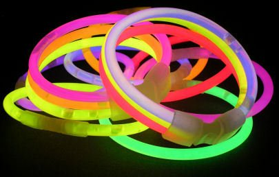1000 - 200mm x 5mm mixed colour glow stick bracelet, 7 colours