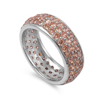 Rhodium Plated Silver 8mm Champagne Cz Eternity Ring (Size 6 - 10) - Size 9