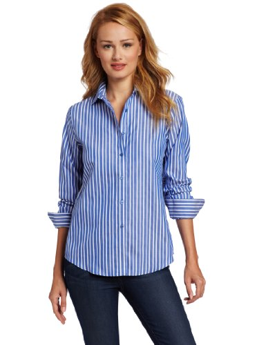 Jones New York Women's No-Iron Easy Care Striped Shirt, Blue/White, Large