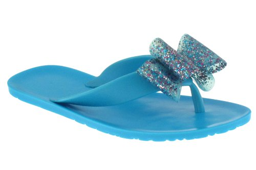 Capelli New York Opaque Upper With A Bow Girls Jelly Flip Flop Turq Combo 10/11