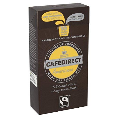 Cafédirect Fairtrade Nespresso Compatible Coffee Capsules Espresso Americano (Pack of 5, Total 50)