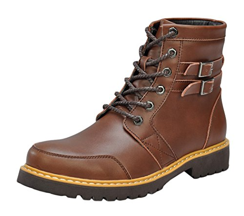 [Serene Christmas Mens Fashion Buckle Leather Uppers Casual Ankle Boots(9 D(M)US, Brown)] (Suede Renaissance Boot Costumes)