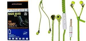 JIYANSHI combo of unbreakable screen guard & earphone green in ear. Compatible for Oppo R7