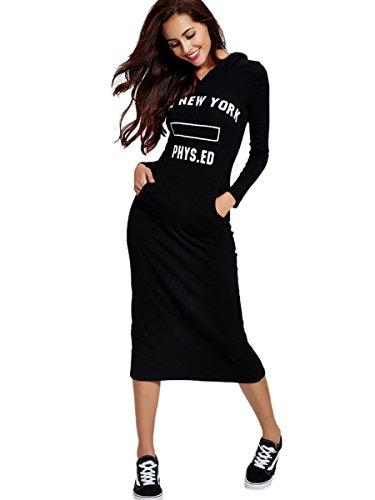 Dressray Womens Long Sleeve Round Neck Mid-Calf Hoodie Dress - XXL- Black