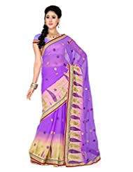 De Marca Lovender And Beige Art Silk Designer G-349 Saree