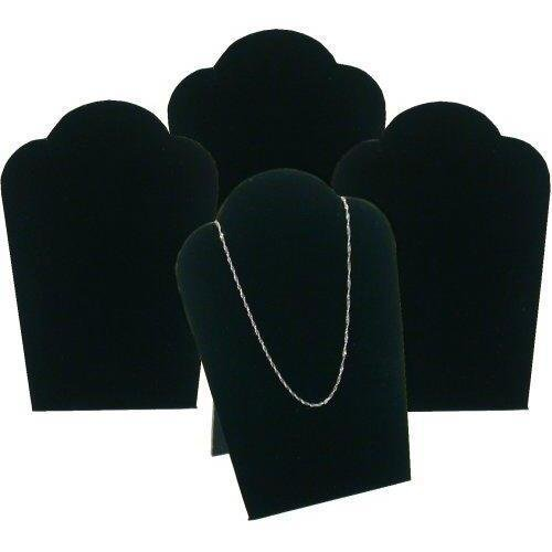 4 Black Velvet Padded Necklace Pendant Display Bust Easels 5.25""