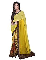 Vishal Yellow Chiffon & Georgette Saree with blouse piece