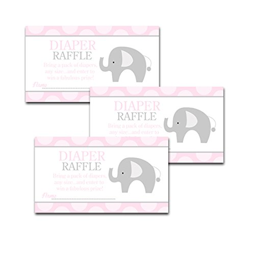 Pink Mod Elephant Girl Baby Shower Diaper Raffle Tickets 20-pack