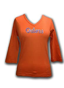 NCAA Florida Gators Ladies Plus V-Neck 3 4 Sleeve Knit Pullover T-Shirt with... by Collegiate Fashionista
