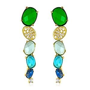 Oval Emerald Topaz Drop Earring in Gold Plate