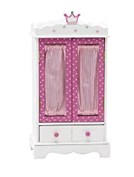 18 Inch Doll Wish Crown Storage | Doll Armoire Closet Furniture | Fits 18