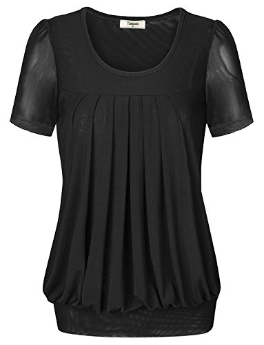 Timeson Women Dress Shirts Short Sleeve V neck Pleated Front Tunic Top for Juniors Large Black