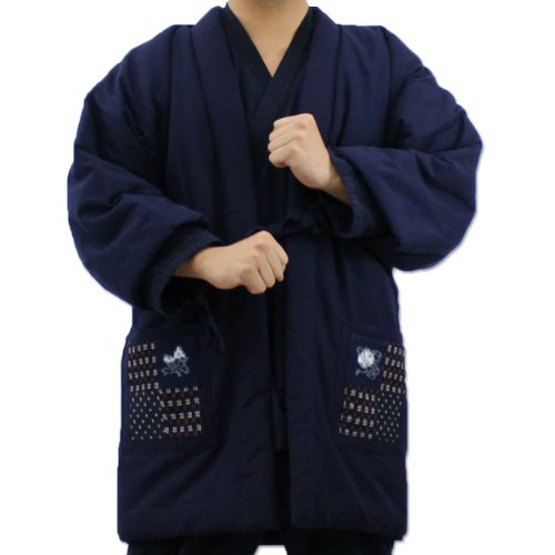 久留米手作りはんてん 紺 赤 紳士 婦人 日本製 中わた綿(cotton)入り