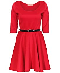 KRISP Womens 3/4 Sleeve Belted Flare Skater Dress Pleated Slimming Mini Tunic(9072-RED-10.1)