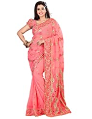 Designer Eyecatchy Peach Colored Embroidered Faux Georgette Saree By Triveni