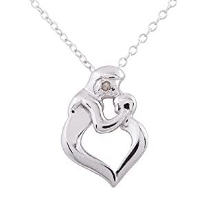 Sterling Silver Rhodium Plated Diamond Accent Heart