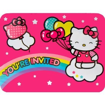 Hello Kitty 'Balloon Rainbow' Invitations and Thank You Notes w/ Env. (8ct each) - 1