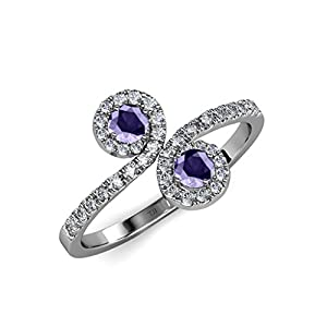 Iolite 2 Stone with Side Diamonds Bypass Engagement Ring 1.17 ct tw 14K White Gold.size 5.5
